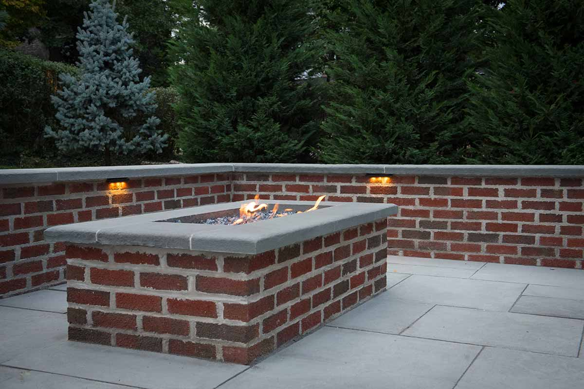 Stone Patio Custom Brick Fire Pit Landscaping